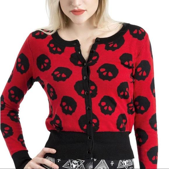 558b3973ba74 Jawbreaker Sweaters | Punk Skull Cardigan Sweater In Red Black ...